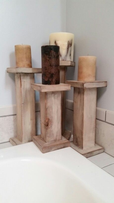 Wood candle holders (pillars) made with 4x4 posts