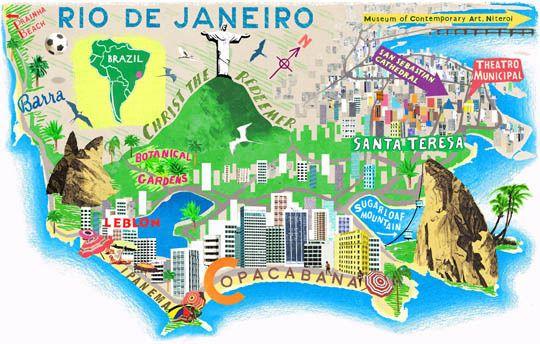 Illustrated map of Rio de Janeiro | ideas portadas ...