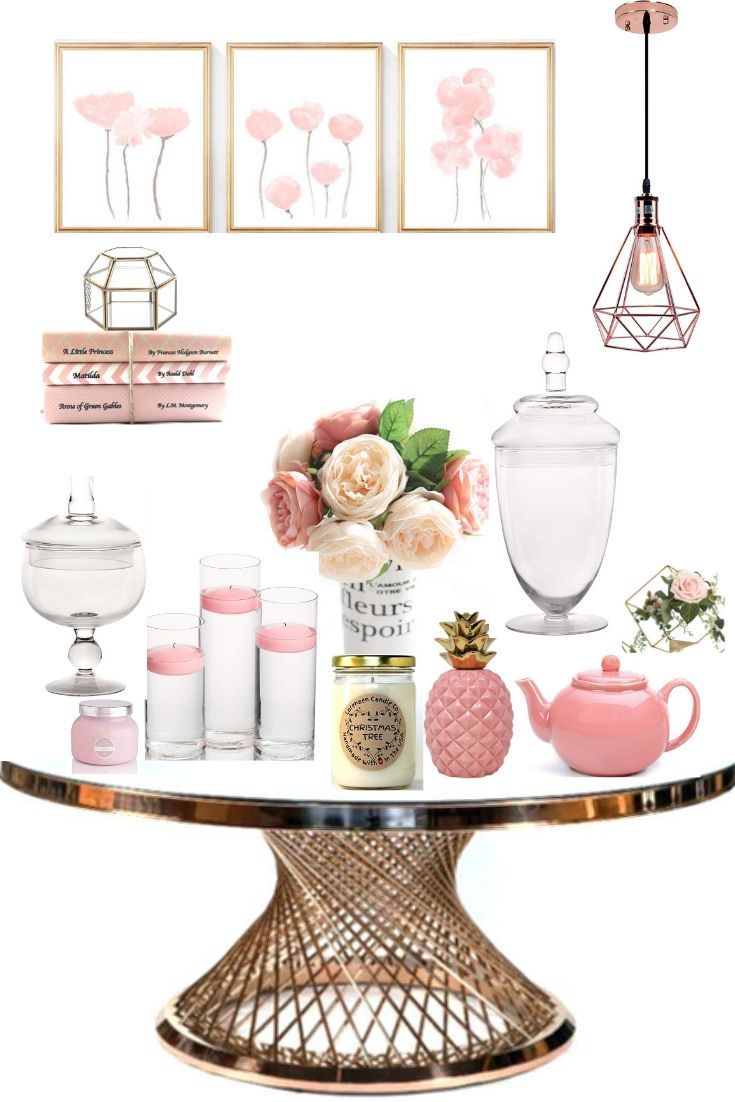 Blush Pink Home Accessories Mixed With Glass And Rose Gold Metal All From Amazon No Link Pink Home Accessories Pink Room Decor Decor
