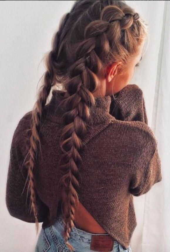Braided Hairstyles Double French Braid Long Hair Frenchbraids In 2020 Thick Hair Styles Braids For Long Hair Long Hair Styles