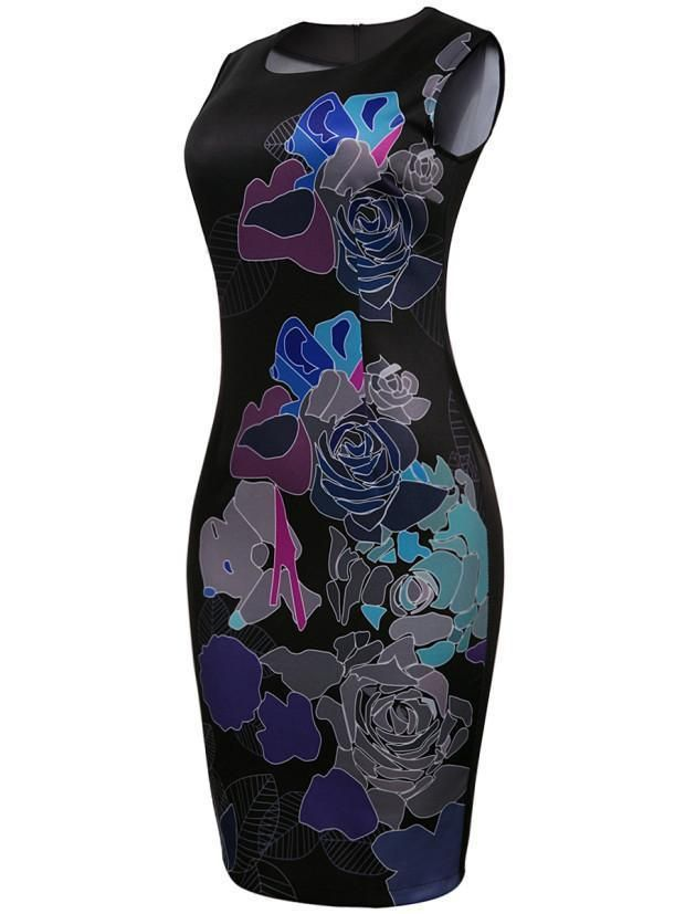 Courtly Round Neck Floral Printed Bodycon Dress 2