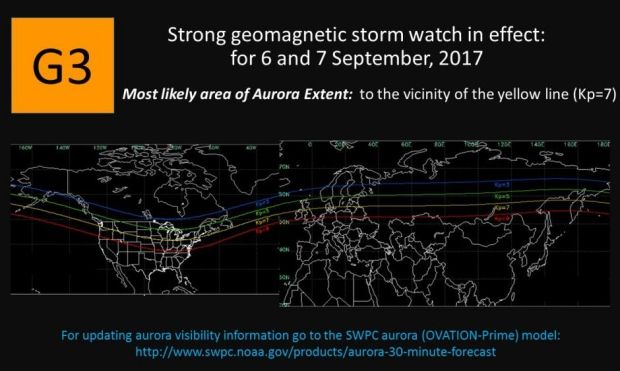 Heads up! Chance to see northern lights on Wednesday night   If the skies are clear on Wednesday night, look up — you may get a chance to see the northern lights. The U.S. Space Weather Prediction Centerhas issued a strong geomagnetic storm watch for late Sept. 6 and 7, whichmeans there's a good chance to seedancing colours across the starry night sky. The watch was issued after the ...