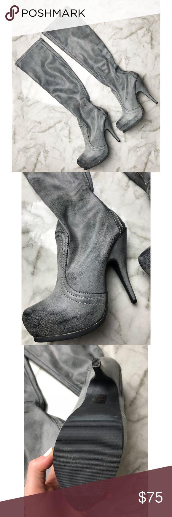 Max Studio • NWOT Grey Heeled Boots Max Studio • NWOT Grey Heeled Boots Never worn  Cute duel toned grey material Slip on, no zipper  Size 7 Max Studio Shoes Heeled Boots