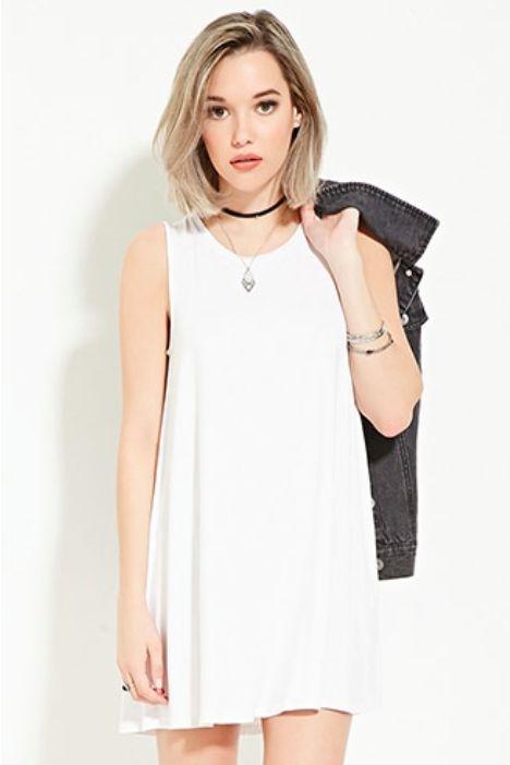 Vestido Mini Liso Blanco Forever21