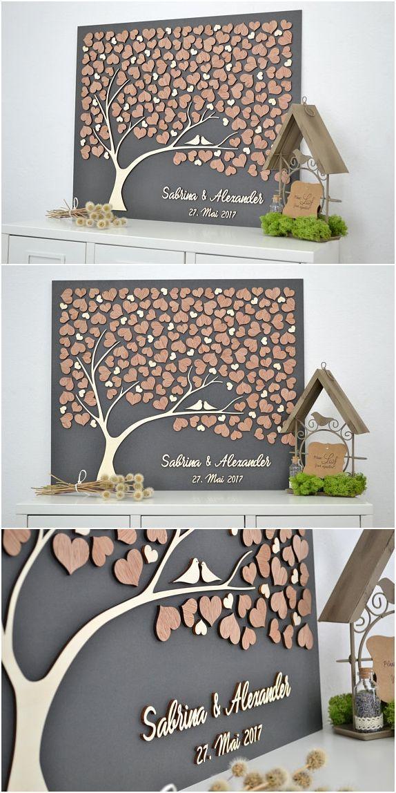 3D LIEBE BAUM Hochzeit Gästebuch Alternative Baum Holz Custom einzigartige Gast …