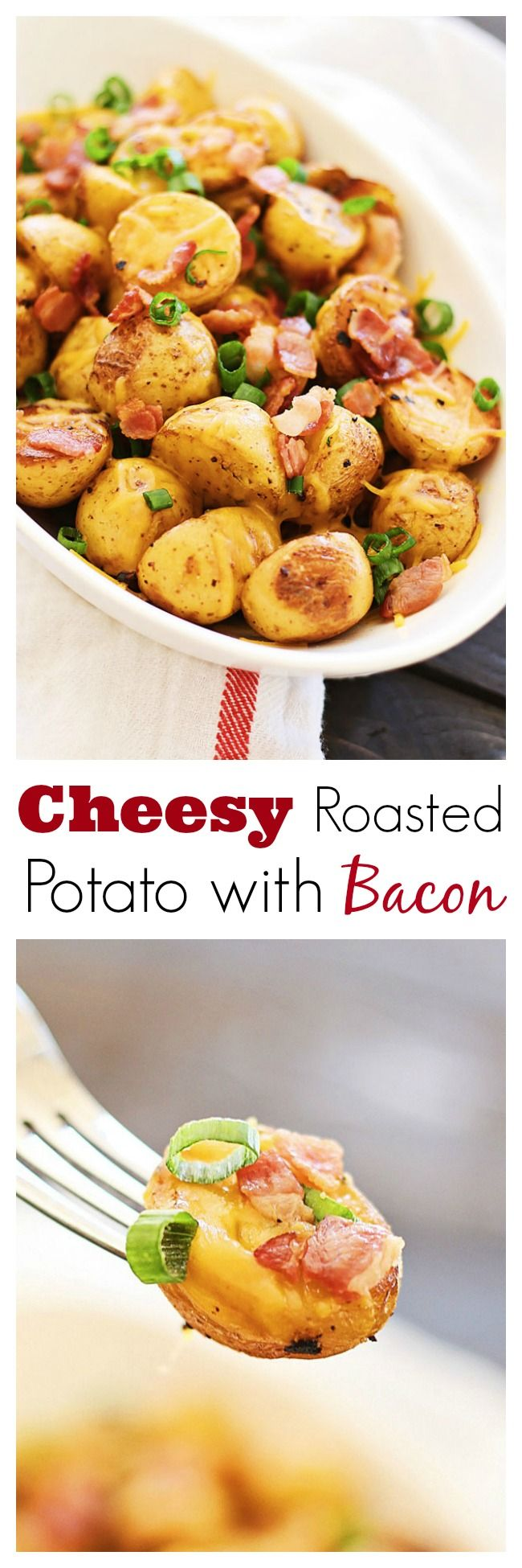 Cheesy Roasted Potatoes with Bacon – mini golden potatoes roasted with garlic, cheddar cheese and bacon. An amazing side dish for Thanksgiving   rasamalaysia.com