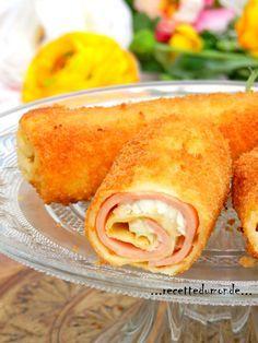 Je suis sure que cette idée va vous plaire ! des crêpes salées roulées et pannées puis frit ! Jambon fomage Ingrédients pour les crêpes