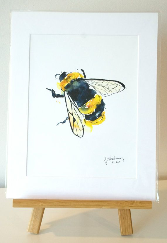Bumblebee- 1 x 14 Fine Art Print - Wall Art - Insect - Baby Bumble Bee - Yellow - Wall Accent Art. $45.00, via Etsy.