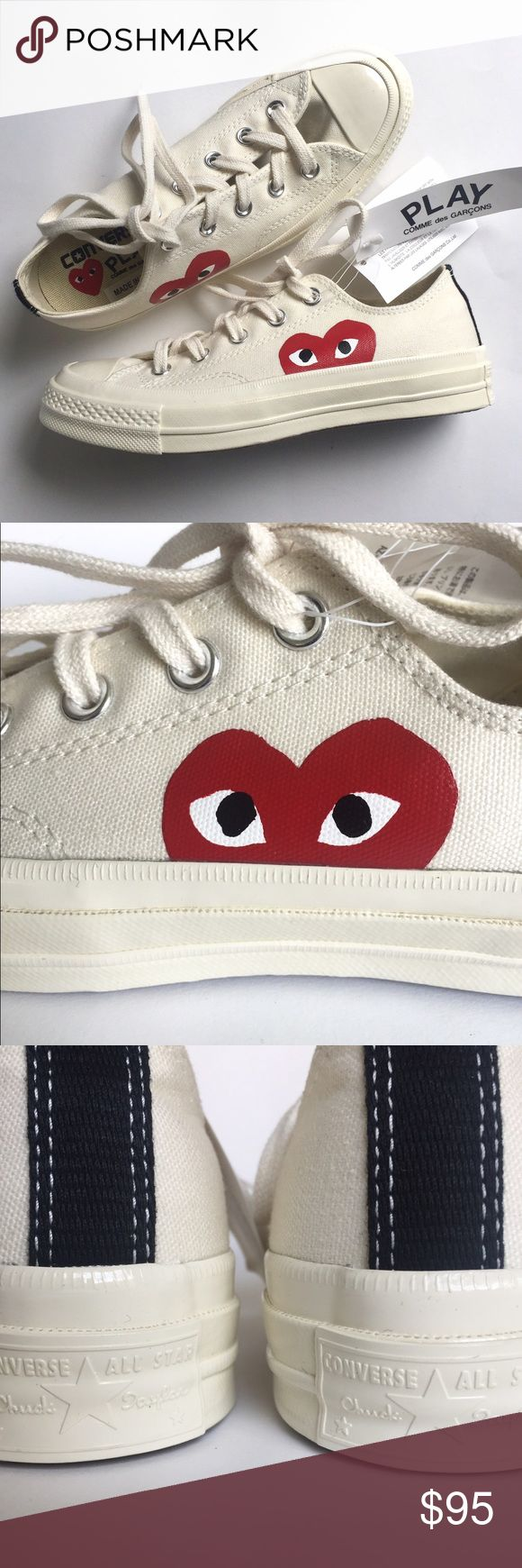 COMME des GARÇONS Play x Converse Low Top Sneaker 100% Authentic Brand New CDG x Converse Collab Sneakers / Sport sneaker with instantly recognizable CDG heart logo and cut from tough canvas / Lace up style / Rubber sole / pet-free & smoke-free home / Size: Men 4 Woman 6 EU 36.5 Comme des Garcons Shoes Sneakers