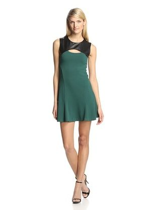 75% OFF Twenty Tees Women's Knit Dress with Leather Yoke (Emerald/Black)