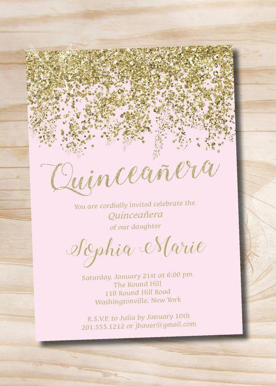 Color de rosa y oro brillo Quinceanera Quince dulce 16