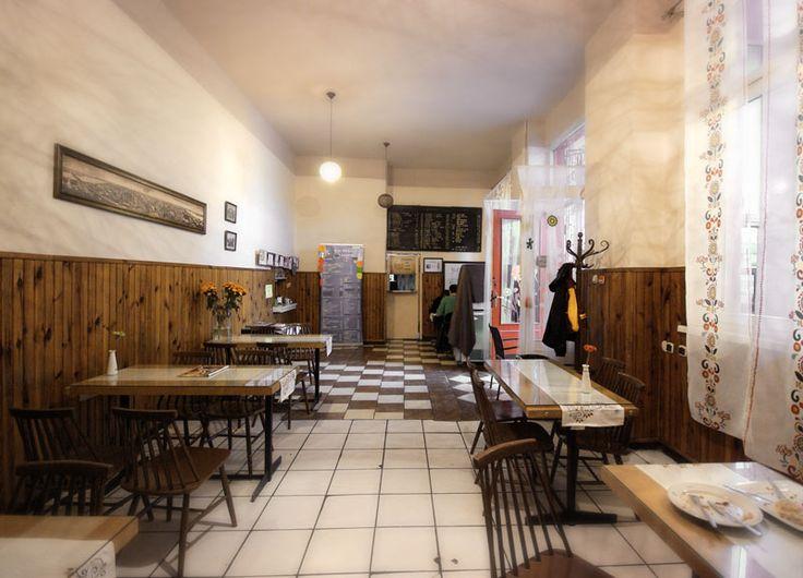 """Bar Mleczny Wilanowski / Wilanowski Milk Bar. Nice and quiet place but a bit too dark. Legendary tableware """"Społem""""."""