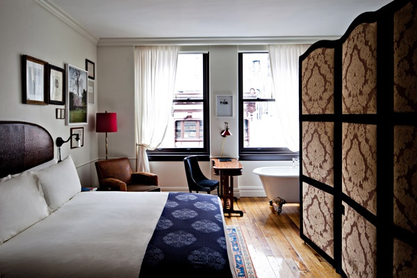I love the claw foot tub & pressed leather headboard in The NoMad's (NYC) guest room 6 - Retox Pinterest picks, RetoxMagazine.com