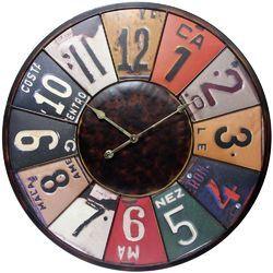 Uttermost Vintage License Plates Clock | Wayfair