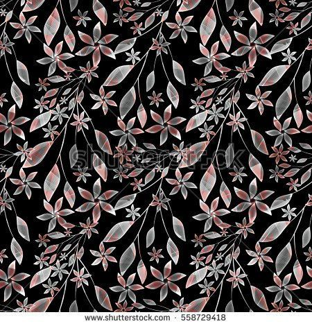 Seamless floral pattern,orange, grey flowers , twigs on a black background.