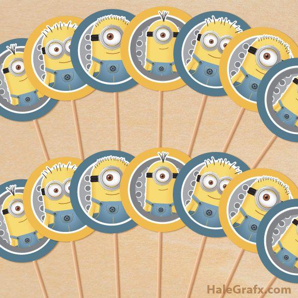 minion cupcake toppers FREE Printable Despicable Me Minions Cupcake Toppers