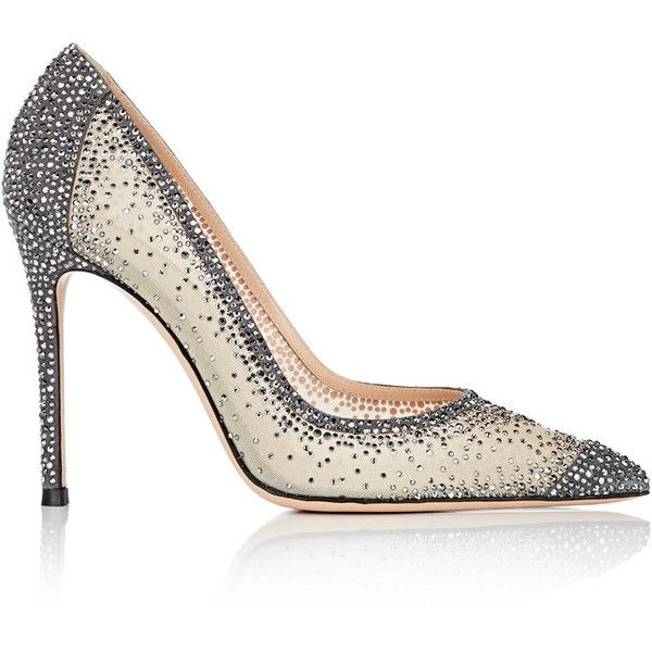 Gianvito Rossi Women's Rania Crystal-Embellished Pumps (43,325 EGP) ❤ liked on Polyvore featuring shoes, pumps, dark grey, embellished shoes, high heel pumps, gianvito rossi pumps, mesh pumps and mesh slip on shoes