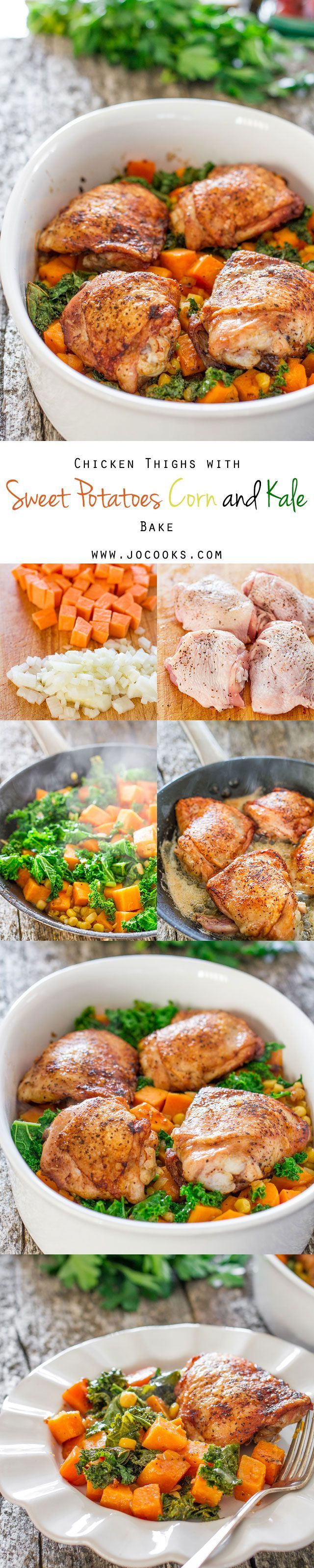 Chicken Thighs with Sweet Potatoes Corn and Kale Bake - a delicious Sunday night dinner. but simple enough to make on any night of the week.