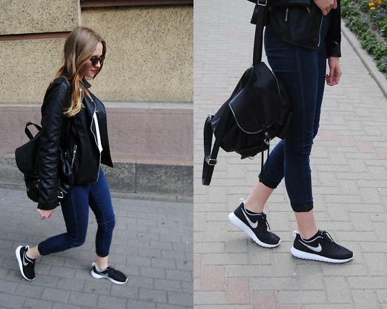 Lidka Adamiak - Stradivarius Leather Jacket, H&M Knitted Blouse, H&M  Leather Backpack, Nike · Roshe Run ShoesNike ...