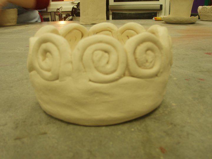 Ceramic pot with spirals