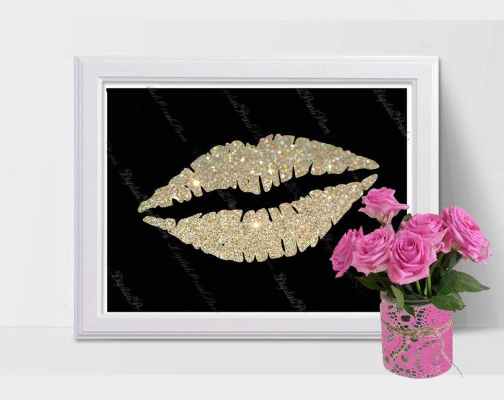 Decor Nursery Silhouette Lips 01 Glitter, Modern Art, Poster, Comercial Use by DigitalPrintStore on Etsy