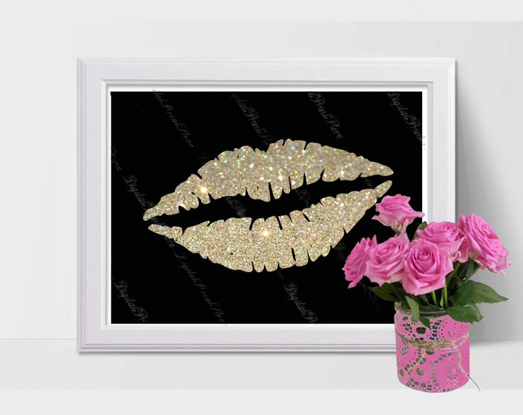 Decor Nursery Silhouette Lips 01 Glitter, Modern Art, Poster, Comercial Use by DigitalPrintStore on Etsy
