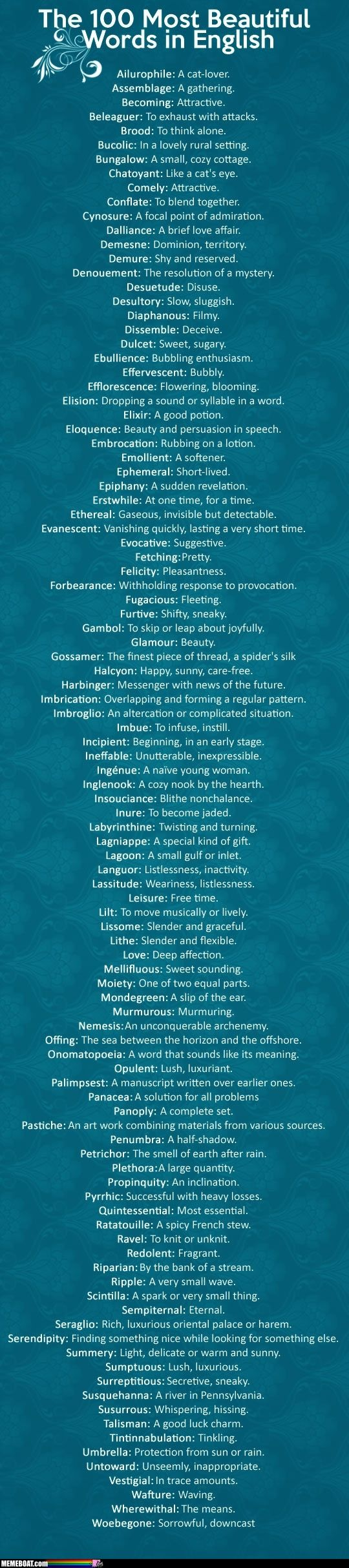 The 100 most beautiful words in English.   Should have left ailurophile off -- neither its sound, nor meaning have anything special to offer.