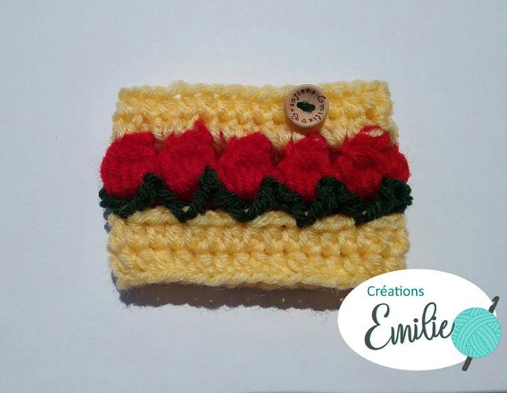couvre-tasse tulipe rouge, red tulip cozy mug, manchon, sleeve de la boutique creationsEmilieetc sur Etsy