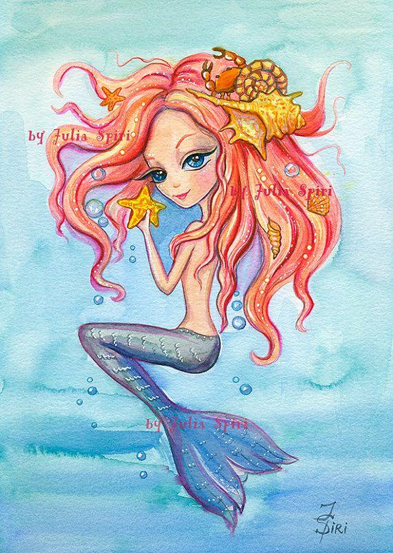 Mermaid Digital Stamps Sea stamps Siren Starfish by JuliaSpiri