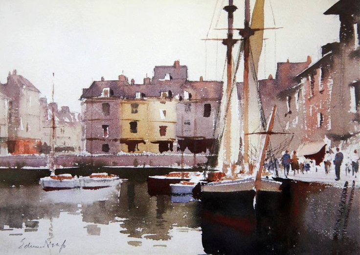 Edward Seago (1910 — 1974, UK) Drying sails, Honfleur. watercolor, 26.7 x 36.8 cm. (10.5 x 14.5 in.)