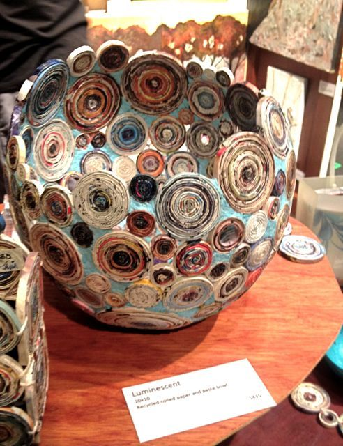 coiled recycled paper turn into bowl