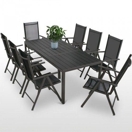8 tuolia ja pöytä ALU 2 väriä, 549,95€. Tämä ruokailuryhmä sopii mihin sen ikinä keksitkään sijoittaa, alumiinirunko ei ruostu ja polyesterikuitu kestää säätä Tuoleissa säädettävä selkänoja sekä klappimekanismi varastointia varten. Ilmainen toimitus! #tuoli #pöytä