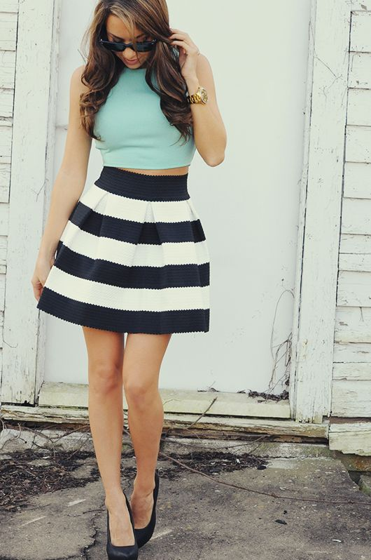 Striped skirt with a crop top!!