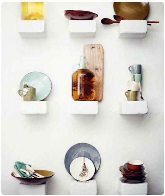 : Kitchens Shelves, Floating Shelves, Idea, Kitchens Wall, Interiors Style, Brick, House, Wall Display, Kitchens Storage