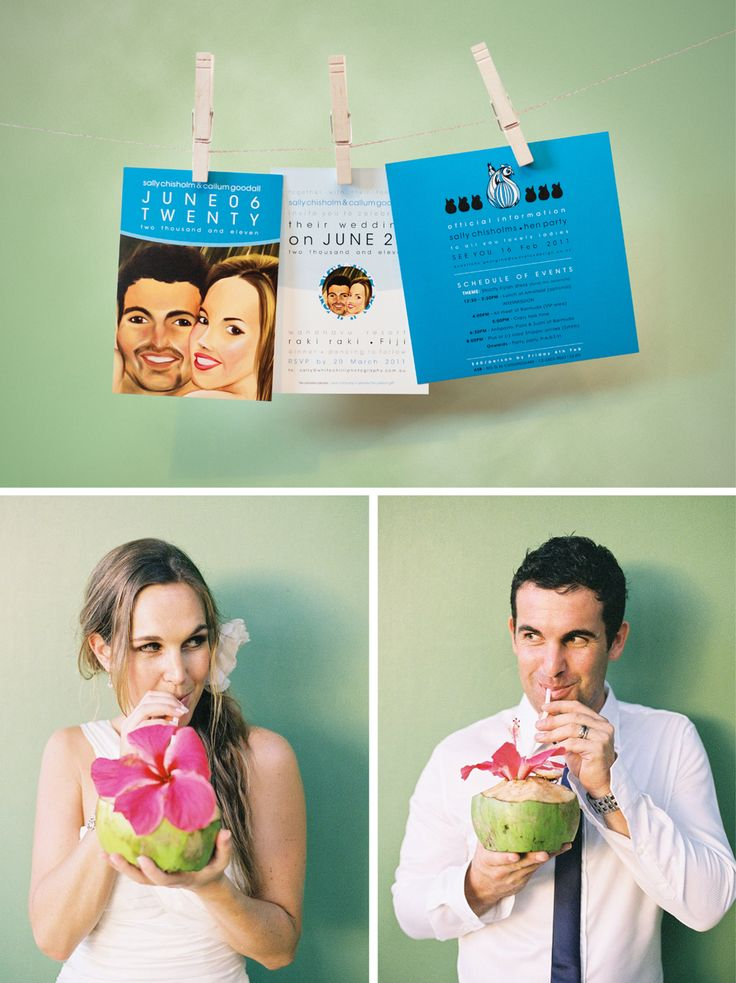 Cheeky & stunning - Sally & Cal - tie the knot in a beautiful tropical island ceremony in Fiji. Wedding invitation design by Swordfox!