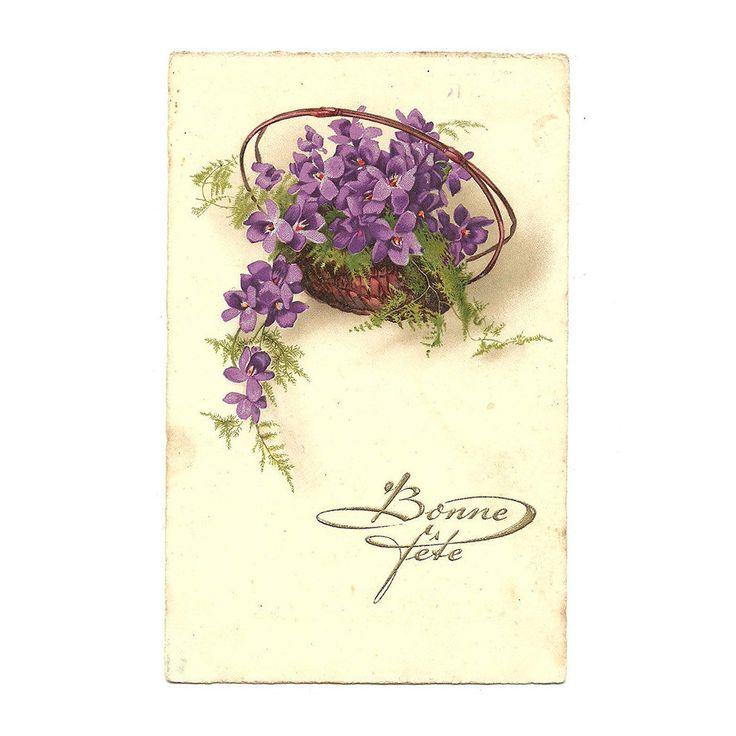 French Antique lllustrated Postcard, Best Wishes Card, Basket of Flower Purple Illustration, Bouquet Card, Bunch of Violet Card