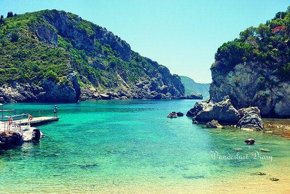Beautiful turquoise waters in  Corfu, Greece - Paleokastritsa Beach