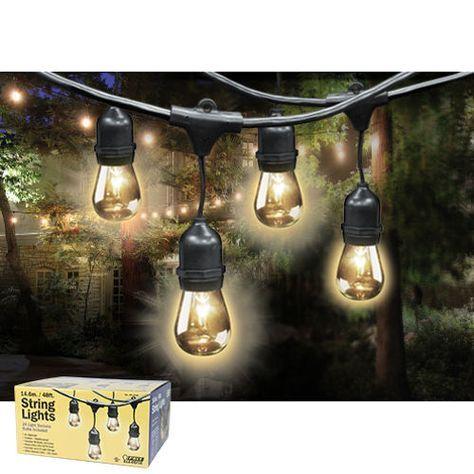 COSTCO   Feit Outdoor Weatherproof String Light Set, 48 ft,  24 Light Sockets, Includes 36 Bulbs