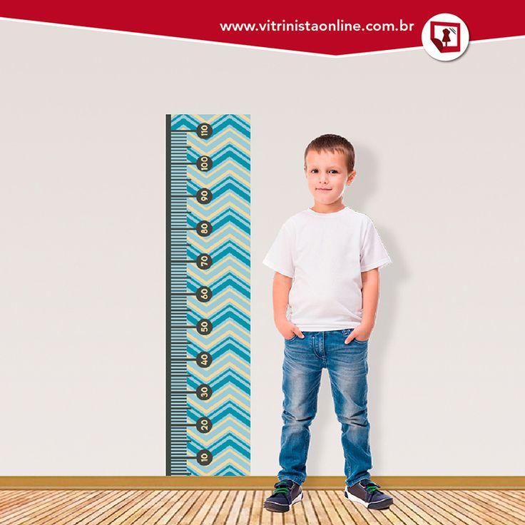 """O ADESIVO """"régua de crescimento infantil"""" é perfeito para decorar o quarto do filhote! Você pode aplicá-lo na parede, no espelho ou no vidro."""
