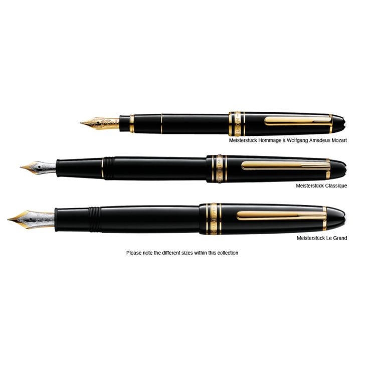 the 3 (main) mont blanc pens and their sizes. top - the Mont Blanc hommag to Mozart traveller fountain pen. Centre is the Mont Blanc meistersutck classic. bottom is the Mont blanc meisterstuck 149 Le grand.
