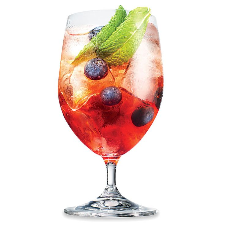 Sloe Gin Spritz: Our warm-weather drinking philosophy in a nutshell: When in doubt, add bubbles.