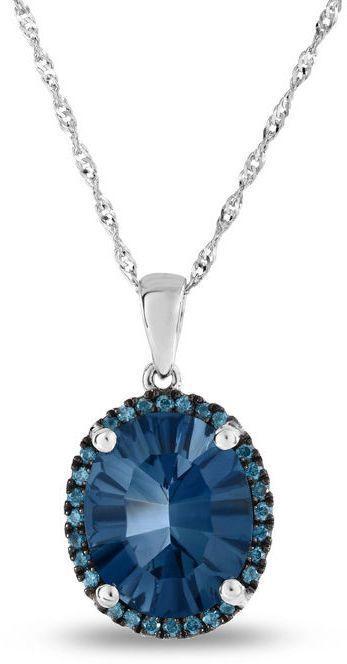 Zales Oval London Blue Topaz and 1/10 CT. T.W. Enhanced Blue Diamond Frame Pendant in 14K White Gold