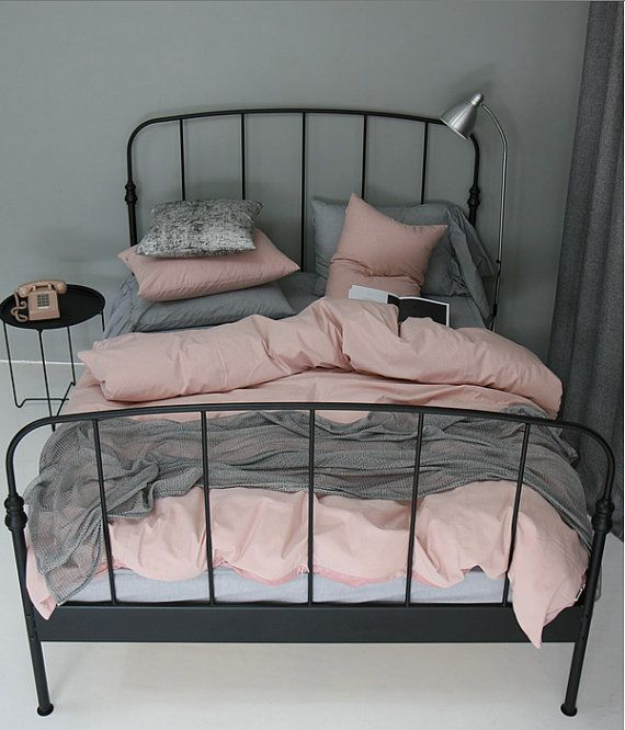 This romantic dusty pink bedding set is made with 100% 300 thread count cotton. The level of thickness of the cotton is suitable for all seasons with or without inserts. Dyeing was processed in the fiber so it wont fade and is natural. The material of this bedding has extra softness and mostly used for high quality purposes such as designer shirts or premium bedding. Machine washable in cold water and tumble dry on low heat.  --- Options ---  ✿ Twin Size Bedding Set Includes - 1 Linen Duvet…