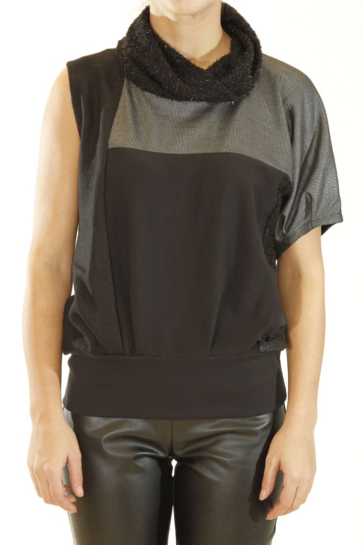 Patchwork effect top One short sleeve Elasticated hemline Loose turtleneck Slips on by broke queens #brokequeens #tops #greek4chic