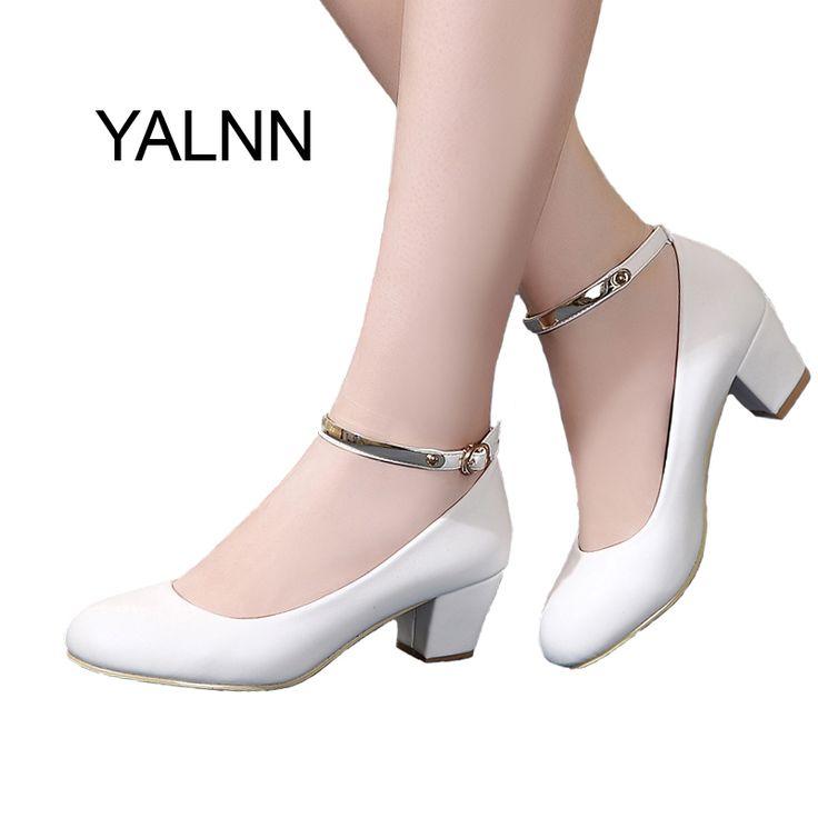 Yalnn新しい女性のハイヒールパンプスセクシーな花嫁パーティー厚いヒールラウンドつま先革ハイヒールの靴用オフィスレディ女性