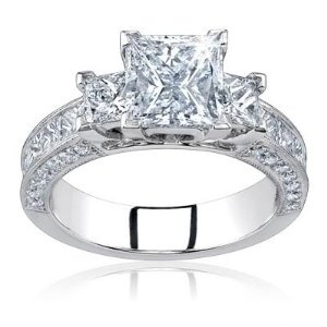 2.00 Carat Total Princess Cut Certified Diamond Three 3 Stone Engagement Anniversary Ring 14k Solid White Gold Center 0.50 Carat D VS1-2 --- http://www.pinterest.com.itshot.me/2j4