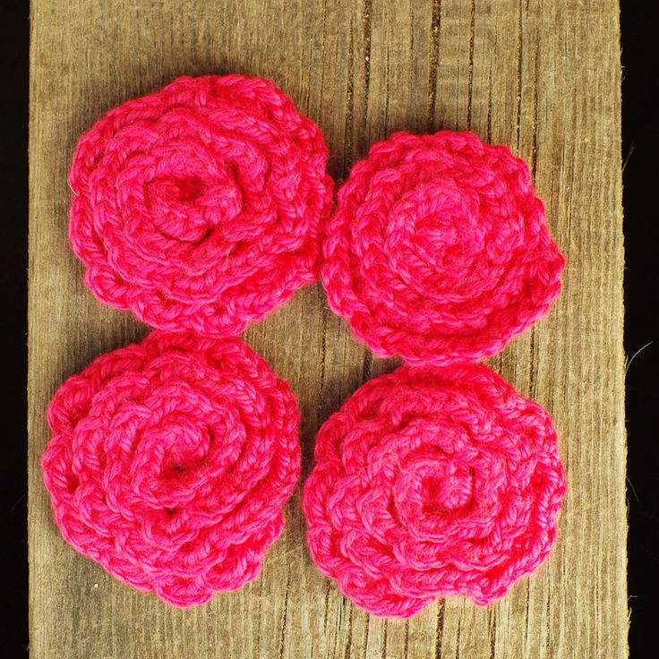 Four pink Flower Face Scubbies - Facial Wash Cloth, Baby Wash Cloth, Kitchen Dish Cloth, Flower Scrubbies, Make Remover Pads by ESTtoYou on Etsy