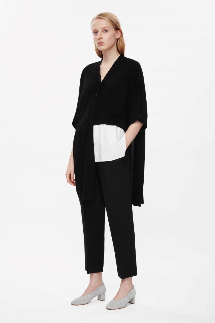 Asymmetric wool cardigan