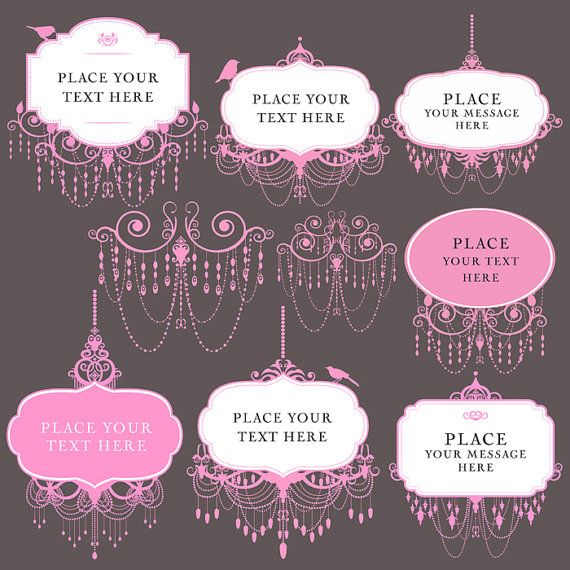 9 chandelier clip art frames digital pink by Vintage Bridal Shower Clip Art wedding shower images clip art