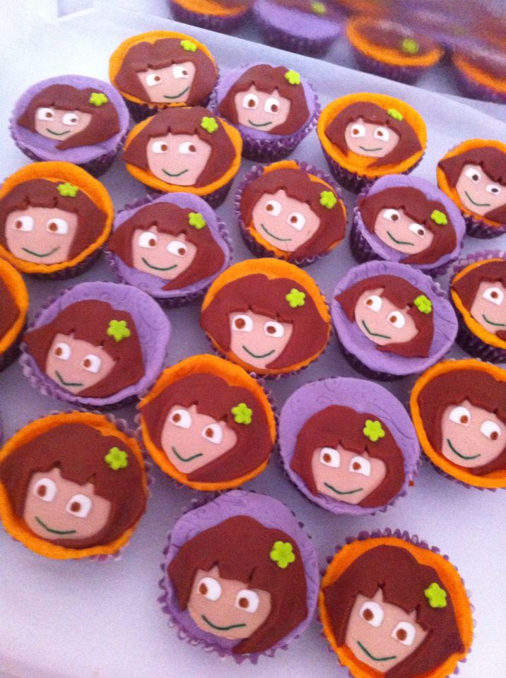 Dora the explorer sugarpaste cupcakes.